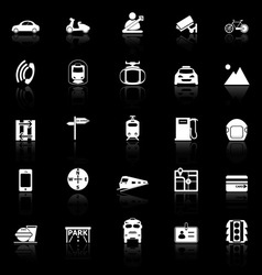 Land transport related with reflect icons on black vector