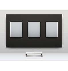 Gallery interior empty frames vector