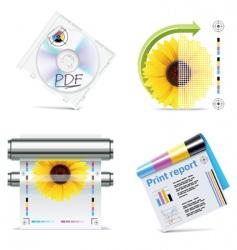 Print shop icon set vector