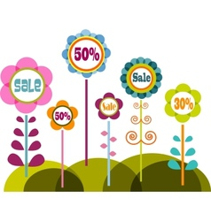 Flowers with sale signs vector