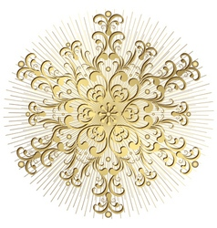 Gold vintage snowflake vector