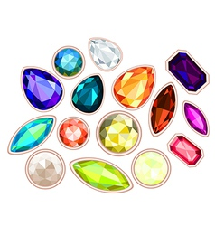 Gems isolated on white background vector