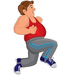 Cartoon fat man in gray running pants runs with vector