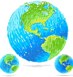 Sketchy blue earth vector