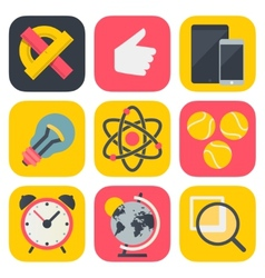 Clean and simple education icons for mobile os vector