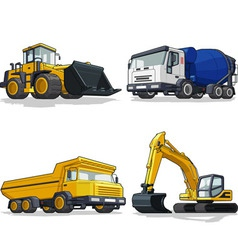 Construction machine bulldozer cement truck vector