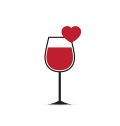 Love heart wine glass vector