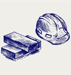 Hard hat and bricks vector
