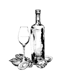 Bottle of wine oysters and glass vector