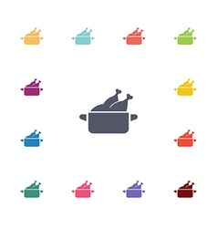 Chicken dish flat icons set vector