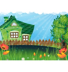 Rural house in the meadow vector