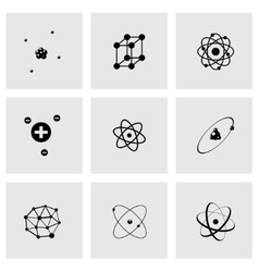 Black atom icon set vector
