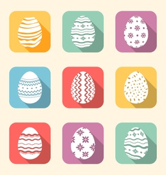 Flat icon of easter ornate eggs long shadow style vector