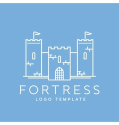 Abstract fortress line style logo template vector
