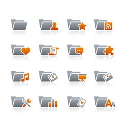 Folders icons 2 graphite series vector