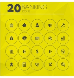 Simple thin banking icons collection vector