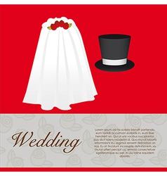 Wedding card wedding veil and groom hat vector