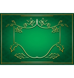 Green card with floral gold frame vector