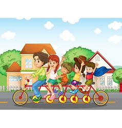 A family biking together vector