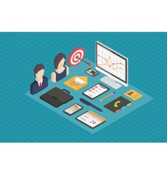 Business isometric 3d icons vector