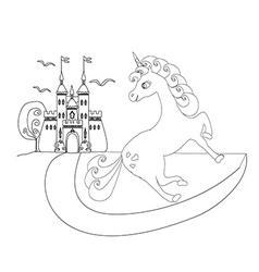 Cute unicorn and fairy-tale princess castle vector