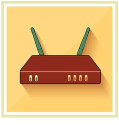 Wi-fi computer router flat icon vector