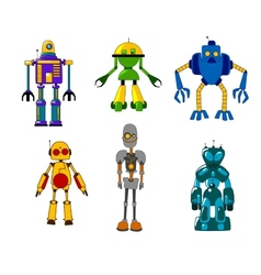 Colorful set of classic toy robots vector
