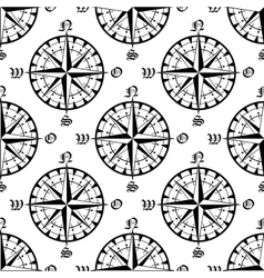 Seamless vintage navigation compass pattern vector