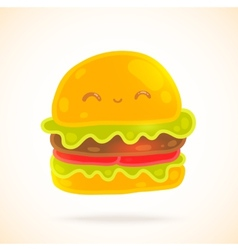 Cute funny cartoon hamburger with eyes smiling vector