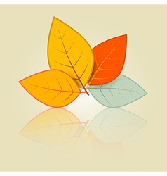 Leaves set in retro style vector