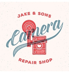 Retro print camera repair shop logo or label vector