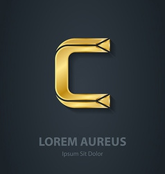 Letter c elegant gold font template for company vector