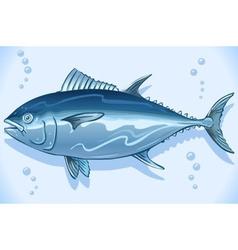 Tuna watercolor underwater world vector