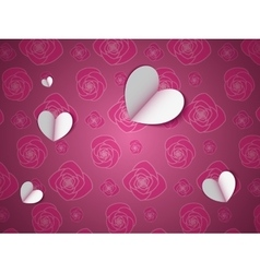 Paper hearts on the flower pattern vector