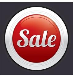 Sale button red round sticker vector
