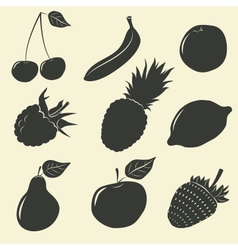 Fruits and berries icons - vector