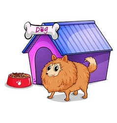 A brown dog outside the doghouse vector