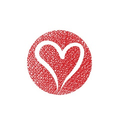 Heart round icon with hand drawn lines texture vector
