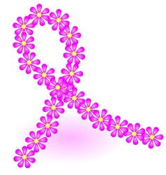 Breast cancer ribbon made of pink daisy flowers vector