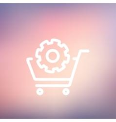 Shopping cart with gear thin line icon vector