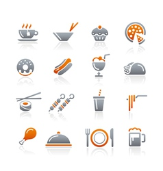 Food icons set 2 graphite series vector