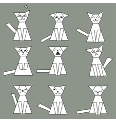 Set of funny geometric cats vector