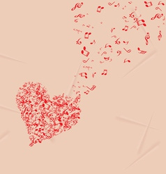 Hearts shape out of music flies romantic vector