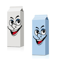 Smiling milk and juice cartons vector
