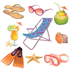 Summer vacation travel icon set vector