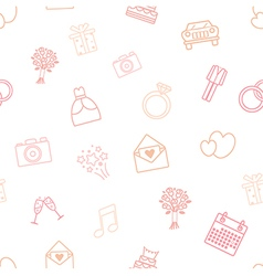 Seamless pattern of wedding icons vector