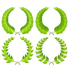 Green laurel wreaths vector