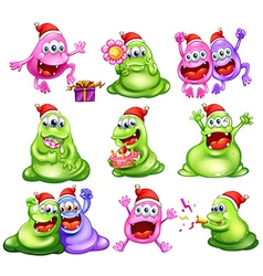 Monsters celebrating christmas vector