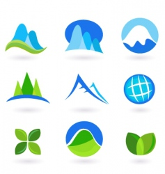 Nature and mountains icon set vector