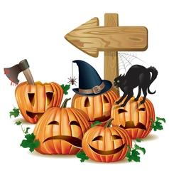 Halloween wooden sign vector